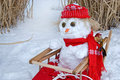 Snowman in sled Royalty Free Stock Photo