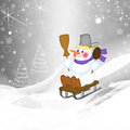 Snowman sledding on a snowy hill illustration Royalty Free Stock Photos