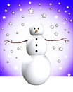 Snowman In Snow Stock Photo