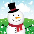 Snowman and snow in the forest Royalty Free Stock Photos