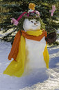 Snowman Snow-lady with basket Royalty Free Stock Images