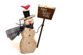 Snowman with snow shovel Royalty Free Stock Photo