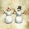 Snowman and snow woman over grunge background Royalty Free Stock Photo