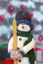 Snowman in the Snowfall Stock Photo