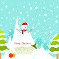 Snowman in Snowy Background Stock Photos