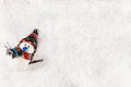 Snowman On Snowy Background Royalty Free Stock Photo