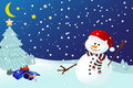 Snowman on a snowy winters night Royalty Free Stock Photo
