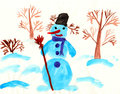 Snowman stands among trees Royalty Free Stock Photo