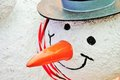 Snowman statue carrot nose Royalty Free Stock Photo