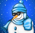 Snowman with sunglasses blacks and blue hat Royalty Free Stock Photos