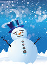 Snowman with Top Hat Stock Images