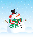 Snowman with a top hat cartoon illustration of in the snow wearing scarf and earmuffs snow falling in the background Stock Photo