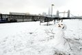 Snowman and Tower Bridge, London, UK Stock Photo