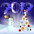 Snowman and tree for 2012 Stock Photo