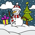 Snowman with tree and gifts Stock Images