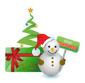Snowman, tree and merry Christmas gift card Royalty Free Stock Photo