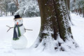 Snowman and tree trunk smiling standing beside a big in the park Royalty Free Stock Images