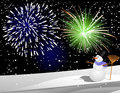 Snowman under firework Royalty Free Stock Photos