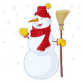 Snowman vector illustration of a happy Stock Photography