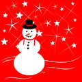 Snowman vector of a on a red star background for your christmas and winter copy Stock Photos