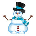 Snowman wearing a hat and blue scarf waving his hand for your design vector illustration colourful Stock Images