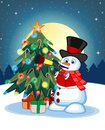 Snowman Wearing A Hat, Red Sweater And A Red Scarf Blowing Horns With Christmas Tree And Full Moon At Night Background For Your De Royalty Free Stock Photo