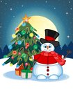 Snowman Wearing A Hat, Red Sweater And Red Scarf Waving His Hand With Christmas Tree And Full Moon At Night Background For Your De Royalty Free Stock Photo