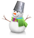 Snowman wearing pail isolated on white background Stock Photo