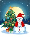 Snowman Wearing A Santa Claus Costume Waving His Hand With Christmas Tree And Full Moon At Night Background For Your Design Vector Royalty Free Stock Photo