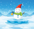 A snowman wearing santa s red hat illustration of Royalty Free Stock Photography