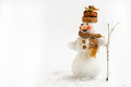 Snowman on a white background with broom Royalty Free Stock Photo