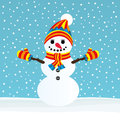 Snowman on winter background vector illustration Royalty Free Stock Image