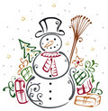 Snowman winter colorful illustration with gifts Royalty Free Stock Photo