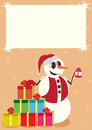 Snowman winter holiday symbols happiness fun gifts box design pointer Royalty Free Stock Photos