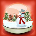 Snowman in winter snowball illustration of a cartoon christmas and inside toy with pine trees firs and snowflakes falling Stock Image