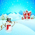 Snowman wishing Merry Christmas Royalty Free Stock Image