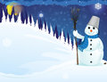 Snowman in the woods with a broom snowy winter night scene Royalty Free Stock Photos
