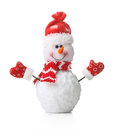 Snowman in xmas red hat isolated Royalty Free Stock Photo