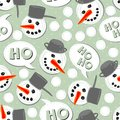 Snowmans on blue polka dots seamless pattern Royalty Free Stock Images