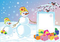 Snowmans specify celebratory gifts Stock Images