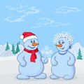 Snowmans in winter forest Stock Image