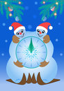 Snowmen clock christmas with the under the decorated fir tree branches Royalty Free Stock Photos