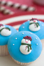 Snowmen cupcakes Royalty Free Stock Photos