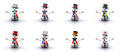 Snowmen of different Countries 3D Royalty Free Stock Photography
