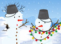 Snowmen illustration of the two Stock Images