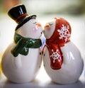 Snowmen kissing Royalty Free Stock Photo