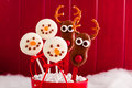 Snowmen and Reindeer Cake Pops Stock Photos
