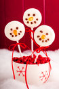 Snowmen and Reindeer Cake Pops Royalty Free Stock Photos