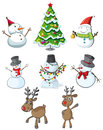 Snowmen reindeers and a christmas tree illustration of the on white background Royalty Free Stock Photos