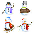 Snowmen Set Stock Photos